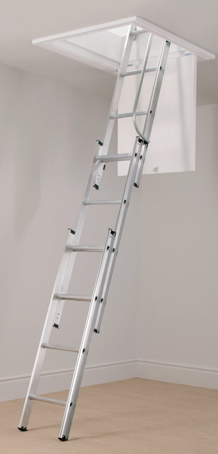Werner 2 And 3 Section Loft Ladder With Handrail